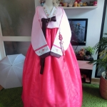 "Luxury Hanbok ฮันบกผ้าไหม รุ่น Pink Je t'aime อก 40"" สูง 167"