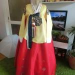 Princess Hanbok แบบชาววัง (ทังอี) สีเหลืองทอง ตัดแดง สวยอลังการ