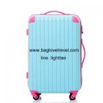 กระเป๋าเดินทางล้อลากไฟเบอร์ รุ่น colorful ฟ้าขอบชมพูเข้ม ขนาด 20/24/28 นิ้ว