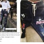กางเกงยีนส์ขายาวสีดำฟอก สกรีนลายมิกกี้