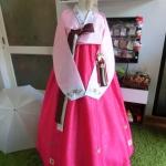 Hanbok เกรด A+++ ผ้าไหมเกาหลี รุ่น Pink Je t'aime#02 โบว์สองสี size M.