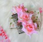 Flower Hair Accessories หวีสับรูปกุหลาบสีโอโรส ใส่คู่กิโมโนตัวเก่ง