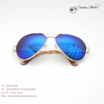 แว่นตากันแดดแฟชั่น สีน้ำเงิน ปรอท
