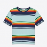 เสื้อยืด Saint Laurent Striped Crew Neck T Shirt.