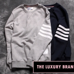 THOM BROWNE SWEATER NAVY BLUE AND GRAY