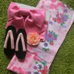 Summer kimono กิโมโนฤดูร้อน (Yukata) Spring Summer สีชมพู