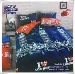 ผ้าปูที่นอนลายประเทศ เกรด A ขนาด 6 ฟุต(5 ชิ้น)[LONDON สีน้ำเงิน]
