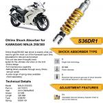 โช๊ค Ohlins สำหรับ Kawasaki Ninja 250/300 Z250/300