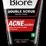 Men's Biore Double Scrub Facial Foam ACNE Solution เมนส์บิโอเร ดับเบิ้ล สครับ เฟเชี่ยล โฟม แอคเน่ โซลูชั่น