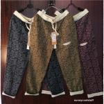 กางเกงขายาว ผ้าฝ้ายสไตล์ญี่ปุ่น ลายกราฟฟิครูปใบไม้