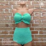 (Size Free size) ชุดว่ายน้ำทูพีช สม็อคทั้งตัว สีเขียวอ่อน ลายสก็อต กางเกงเอวสูง สม็อคทั้งตัว