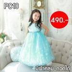 PC18 ชุดเจ้าหญิงเอลซ่าแฟนซี สีฟ้า แขนสั้น มีผ้าคลุม(ถอดได้) กระโปรงฟู(เสริมซับใน5ชั้น)