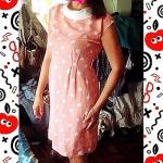 Dress สั้นสีส้มลายจุดน่ารัก ราคา 150 บาท
