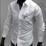 เสื้อเชิ้ตสีขาว แต่งมุมกระเป๋าสีเทา