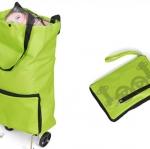 กระเป๋า ช็อปปิ้ง ล้อลาก พับได้ สีเขียว