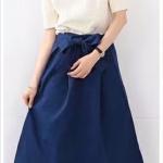 กระโปรงผ้าเวสปอยท์ เอวโบว์ สไตล์ญี่ปุ่น สีกรมท่า