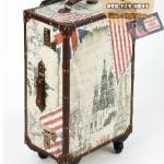 กระเป๋าเดินทางวินเทจ รุ่น vintage classic ลายเมืองยุโรป ขนาด 22 นิ้ว