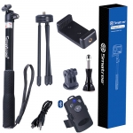 "Smatree SmaPole Q4 Bluetooth Selfie Stick +Folding 3 Legs Support Stand for Cell Phones & GoPro Cameras & 1/4"" Threaded Hole Compact Cameras, With Bluetooth Remote Shutter for Smartphones"