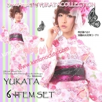 Summer kimono กิโมโนฤดูร้อน (Yukata) Spring Flower สีชมพู รุ่น 1 เซต 6 ชิ้น
