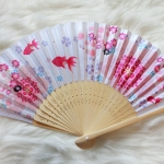 Kimono fan (sensu / ougi) พัดญี่ปุ่นสีชมพู ลายปลาทองและกลีบซากูระ