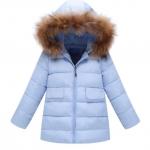 WT57-Blue เสื้อกันหนาวเด็กสีฟ้า บุใยสังเคราะห์อย่างหนา มีฮูดขนเฟอร์