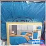 ชุดผ้าปูที่นอนสีพื้น พร้อมผ้านวมหนา ทูโทน เกรด A (ุสีครีม+ฟ้า) 6 ฟุต 6 ชิ้น
