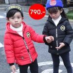 WT54-Black เสื้อกันหนาวเด็กสีดำ บุใยสังเคราะห์อย่างหนา มีฮูดเขา+กระเป๋าด้านหลัง(มีซิป)