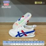 รองเท้าผ้าใบเด็ก Mexico66 สีขาวคาดน้ำเงิน/แดง ผูกเชือก