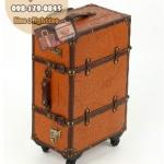 กระเป๋าเดินทางวินเทจ รุ่น vintage classic น้ำตาลส้มคาดน้ำตาล ขนาด 22 นิ้ว