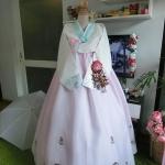 """Hanbok พรีเมี่ยมฮันบก สีพาสเทลสวยหวาน อก 40"""" สูง 162 cm."""