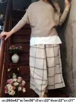 กางเกงกระโปรงผ้าฝ้าย เนื้อนิ่ม ลายเส้นตาราง สไตล์ญี่ปุ่น สีบีจ