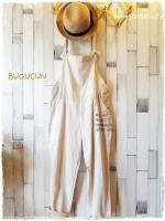 Bugucun เอี๊ยมกางเกงขายาว ผ้าฝ้ายสไตล์ natural สีบีจ