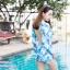 [Free size] ชุดว่ายน้ำวันพีชแขนยาวเว้าหลัง รุ่น Sofia สีฟ้าลายกราฟิก thumbnail 5