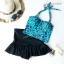 (free size) ชุดว่ายน้ำ ทูพีช ลายเสือดาวสีฟ้า บราเป็นแบบสวมเต็มตัวไม่โป้ กระโปรงดำ thumbnail 1