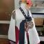 """Royal Hanbok แบบชาววัง (ทังอี) สีขาวครีม กระโปรงสีแดงปักมือ อก 38"""" thumbnail 3"""