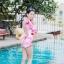 [Free size] ชุดว่ายน้ำวันพีชแขนยาวเว้าหลัง รุ่น Sofia สีชมพูลายกราฟิก thumbnail 5