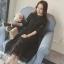 RP6002001 ชุดลูกไม้กระโปรงยาวคอสูงสีดำขาวเข้ารูปเกาหลี(พรีออเดอร์) thumbnail 4