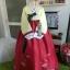 """Hanbok ฮันบก พรีเมี่ยมต่อปลายแขน สีขาวแดง อก 40"""" สูง 161cm. thumbnail 1"""