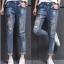 LW6003001 กางเกงยีนส์ผู้หญิงสำหรับสาวอวบขายาวแต่งปะเพ้นท์สี (พร้อมส่ง)32 thumbnail 1