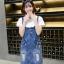 BW6005005 เอี้ยมกระโปรงยีนส์สั้นดินสดป้ายสีคาบอยเกาหลี (พรีออเดอร์) รอสินค้า 3 อาทิตย์หลังโอนเงิน thumbnail 4