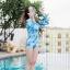 [Free size] ชุดว่ายน้ำวันพีชแขนยาวเว้าหลัง รุ่น Sofia สีฟ้าลายกราฟิก thumbnail 2