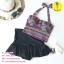 (free size) ชุดว่ายน้ำ ทูพีช ลายขวางหลากสี บราเป็นแบบสวมเต็มตัวไม่โป้ กระโปรงดำ thumbnail 1