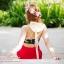 (Free Size) ชุดว่ายน้ำ ทูพีช บราเป็นแบบตะขอหลัง ลายดอกชบา กางเกงกระโปรงระบายล่างสีแดง ชุดว่ายน้ำ คอโบว์ thumbnail 5