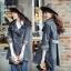 FW6009013 เสื้อคลุมแจ็กเก็ตยีนส์ตัวยาวคอปกเสื้อกันหนาวสาวเกาหลี (PRE) thumbnail 1
