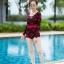 [Free size] ชุดว่ายน้ำวันพีชแขนยาว รุ่น Kanya สีดำลายดอกกุหลาบ thumbnail 4