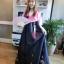 "Premium Hanbok ฮันบกสีชมพูม่วง สวยมีระดับ อก 40"" สูง 164 thumbnail 9"