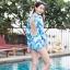 [Free size] ชุดว่ายน้ำวันพีชแขนยาวเว้าหลัง รุ่น Sofia สีฟ้าลายกราฟิก thumbnail 4