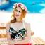 (Free Size) ชุดว่ายน้ำ ทูพีช บราเป็นแบบตะขอหลัง ลายดอกชบา กางเกงกระโปรงระบายล่างสีแดง ชุดว่ายน้ำ คอโบว์ thumbnail 1