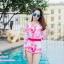 [Free size] ชุดว่ายน้ำวันพีชแขนยาวเว้าหลัง รุ่น Sofia สีชมพูลายกราฟิก thumbnail 3