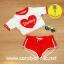 (Size S,M) ชุดว่ายน้ำ แขนสั้น darling สีขาว,แดง thumbnail 2